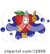 Clipart Illustration Of A Red Apple Character Mascot Logo With Blue Paint Splatters