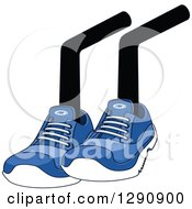 Clipart Of A Pair Of Sitting Legs Wearing Blue Tennis Shoes Royalty Free Vector Illustration