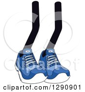 Clipart Of A Pair Of Legs Wearing Blue Tennis Shoes 5 Royalty Free Vector Illustration