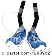 Clipart Of A Pair Of Legs Wearing Blue Tennis Shoes 6 Royalty Free Vector Illustration