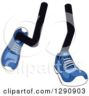 Clipart Of A Pair Of Walking Legs Wearing Blue Tennis Shoes 2 Royalty Free Vector Illustration