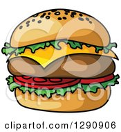 Clipart Of A Big Cheeseburger Royalty Free Vector Illustration