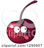 Clipart Of A Goofy Cherry Character Sticking His Tongue Out Royalty Free Vector Illustration