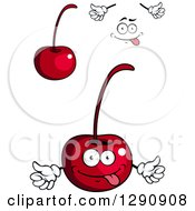 Clipart Of Cherries A Face And Hands Royalty Free Vector Illustration
