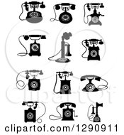 Clipart Of Retro Black And White Desk Telephones Royalty Free Vector Illustration