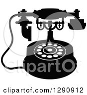 Clipart Of A Retro Black And White Desk Telephone 8 Royalty Free Vector Illustration