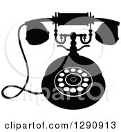 Clipart Of A Retro Black And White Desk Telephone 9 Royalty Free Vector Illustration
