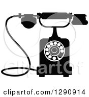 Clipart Of A Retro Black And White Desk Telephone 10 Royalty Free Vector Illustration