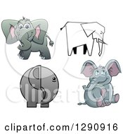 Clipart Of Sketched And Cartoon Elephants Royalty Free Vector Illustration by Vector Tradition SM