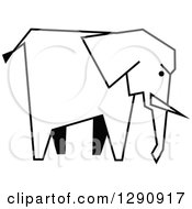 Clipart Of A Sketched Black And White Elephant Royalty Free Vector Illustration by Vector Tradition SM