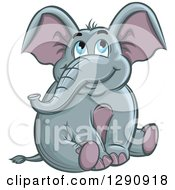 Clipart Of A Cute Blue Eyed Elephant Sitting And Looking Up Royalty Free Vector Illustration by Vector Tradition SM