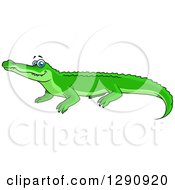 Clipart Of A Happy Bright Green Crocodile With Blue Eyes Royalty Free Vector Illustration by Vector Tradition SM