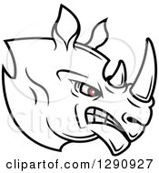 Clipart Of An Aggressive Black And White Rhino Head With Red Eyes Facing Right Royalty Free Vector Illustration by Seamartini Graphics