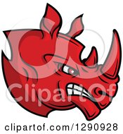 Clipart Of An Aggressive Angry Red Rhino Head Facing Right Royalty Free Vector Illustration by Seamartini Graphics