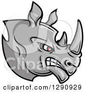 Clipart Of An Aggressive Angry Gray Rhino Head Facing Right Royalty Free Vector Illustration by Seamartini Graphics
