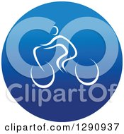 Clipart Of A White Athlete Cyclist In A Round Blue Icon Royalty Free Vector Illustration