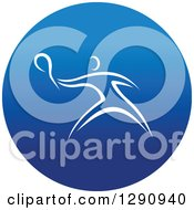 Clipart Of A White Athlete Playing Tennis Or Ping Pong In A Round Blue Icon Royalty Free Vector Illustration