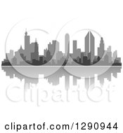 Clipart Of A Multi Toned Gray Silhouetted City Skyline And Reflection Royalty Free Vector Illustration by Vector Tradition SM