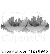 Clipart Of A Multi Toned Gray Silhouetted City Skyline And Reflection 2 Royalty Free Vector Illustration