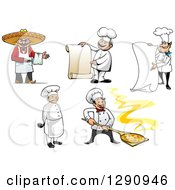 Clipart Of Male Chefs In Different Poses Royalty Free Vector Illustration