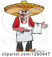 Clipart Of A Welcoming Male Mexican Chef Royalty Free Vector Illustration