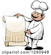 Happy Cartoon Male Chef Pointing And Holding A Scroll Menu Sign