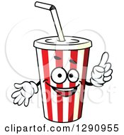 Clipart Of A Striped Fountain Soda Cup Character Royalty Free Vector Illustration
