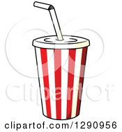 Clipart Of A Striped Fountain Soda Cup Royalty Free Vector Illustration