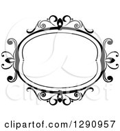 Clipart Of A Black And White Ornate Oval Swirl Frame 5 Royalty Free Vector Illustration