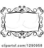 Clipart Of A Black And White Ornate Rectangle Swirl Frame 4 Royalty Free Vector Illustration