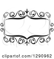 Clipart Of A Black And White Ornate Rectangle Swirl Frame 5 Royalty Free Vector Illustration