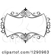 Clipart Of A Black And White Ornate Swirl Frame Royalty Free Vector Illustration