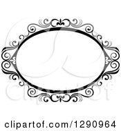 Clipart Of A Black And White Ornate Oval Swirl Frame 6 Royalty Free Vector Illustration