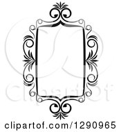 Clipart Of A Black And White Ornate Rectangle Swirl Frame 6 Royalty Free Vector Illustration