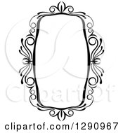 Clipart Of A Black And White Ornate Rectangle Swirl Frame 7 Royalty Free Vector Illustration