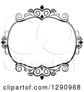 Clipart Of A Black And White Ornate Oval Swirl Frame 7 Royalty Free Vector Illustration