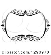 Clipart Of A Black And White Ornate Rectangle Swirl Frame 9 Royalty Free Vector Illustration