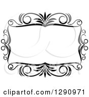 Clipart Of A Black And White Ornate Rectangle Swirl Frame 10 Royalty Free Vector Illustration