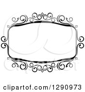 Clipart Of A Black And White Ornate Rectangle Swirl Frame 11 Royalty Free Vector Illustration