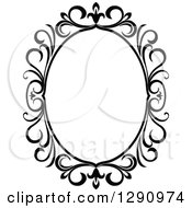 Clipart Of A Black And White Ornate Oval Swirl Frame 3 Royalty Free Vector Illustration