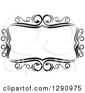 Clipart Of A Black And White Ornate Rectangle Swirl Frame Royalty Free Vector Illustration
