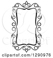 Clipart Of A Black And White Ornate Rectangle Swirl Frame 2 Royalty Free Vector Illustration