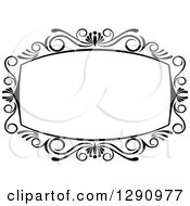 Clipart Of A Black And White Ornate Rectangle Swirl Frame 3 Royalty Free Vector Illustration