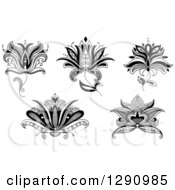 Clipart Of A Black And White Henna Lotus Flowers 2 Royalty Free Vector Illustration