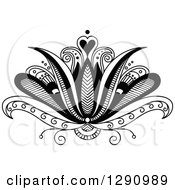 Clipart Of A Black And White Beautiful Henna Lotus Flower 2 Royalty Free Vector Illustration