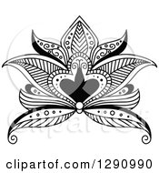 Clipart Of A Black And White Beautiful Henna Lotus Flower 3 Royalty Free Vector Illustration
