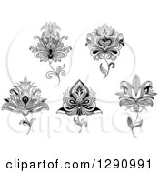 Clipart Of A Black And White Henna Lotus Flowers 3 Royalty Free Vector Illustration