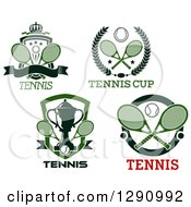 Clipart Of Tennis Shield And Wreath Designs Royalty Free Vector Illustration