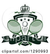 Clipart Of A Crown Over A Shield With Stars A Tennis Ball Rackets And A Blank Banner Royalty Free Vector Illustration