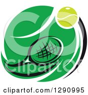 Clipart Of A Green White And Black Tennis Ball And Racket Logo Royalty Free Vector Illustration
